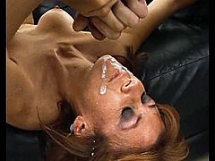 Have a good time watching this redhead lady, with big knockers and a shaved love tunnel, while she gets drilled hard and moans loudly.