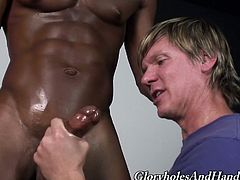Jared Scott and his BF are having a great time together. The black poofter shows his dick to the blonde queer and lets him rub it ardently.