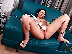 Brunette asian Brandi Belle strips and plays with herself for your viewing entertainment
