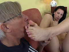 Enjoy sweet Corina S playing naughty with an old stud's cock