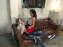 this harsh transsexual mistress throws her skinny little slave boy down on the couch and then climbs on top of him. She sticks her cock down his throat and then pulls down his jeans so she can get at his tight little asshole. she pound his tight asshole nice and hard.
