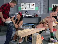 Things in the workshop can always go wrong but not when you have three hard working girls such as these ones. Sexy, busty and ready to work hard on a big piece, Krissy, Mia and Romi help Danny out with his work. The bitches suck his dick and even take care of each other. What good girls we have here.