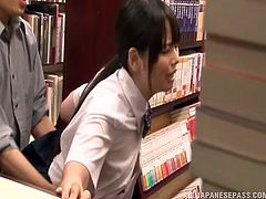 Two schoolgirls are buying manga when two men walk up to them and start fucking the. The girls suck cock and get fucked from behind with their beautiful floppy tits hanging out of their uniforms. This is hot public sex.