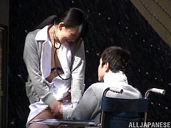 This Japanese nurse knows just how to take care of her sick and feeble patients. This guy is wheeled outside into the garden behind the hospital and the nurse takes care of him sexually. She gets him to regain his strength and she lets him fuck her from behind.