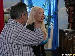 She's a sex bomb and her husband is an old fart, but he's filthy rich! The busty blonde babe is disgusted by him but loves his money and now that they are married, she has to fuck with the man. The old fart used to be a stud in his youth and the blonde fucks with him, imagining him young again.