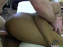 Curvy ebony beauty lies on her back white horny white guy licks her soaking wet hairy poon. Her black cunt gets fucked missionary style. Later one babe gives amazing blowjob.