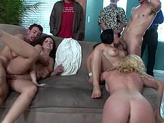 Check out this hardcore scene where these horny ladies are fucked by big cocks in this orgy scene I'm sure you'll love.