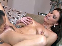 Well shaped and hot like fire dark haired whore gets her wet unshaved pussy eatan by her handsome stud and in return she sucks his cock.