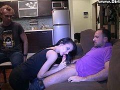 Fiona can be a snake, when she wants to! The brunette used to love her bf, but when she found out, that he was cheating on her, Fiona turned into a whore and gave him a lesson, hard to forget. She started out by interrogating her bf, as he was tied on that chair and after he confessed, she sucked cock in front of him!