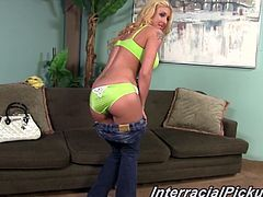 Sizzling blonde Leya Falcon is having fun with a black man indoors. She strips and shows her awesome body to the guy and then gives him a handjob and they fuck in cowgirl position and doggy style.