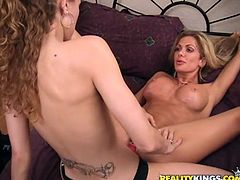 Amazing blonde Nina and her captivating GF are having lesbian fun indoors. The babes caress each other and then lick each other's pussies and smash them with a dildo.