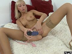 Ivy Stevens is a petite blonde babe with a deep hunger for cock. She slides her favorite blue dildo in her pussy and sucks a huge cock to get the facial she desires.