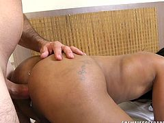 Lohara Lomark puts her mouth on her boyfriend's big cock and gives him an excellent blowjob. He loves the way her lips feel on his cock head and shaft. She bends over so he can fuck her in the ass from behind. She strokes her meaty cock as she gets fucked hard without condom.