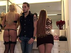 Make sure you have a look at this hot scene where this horny guy gets blown by two hot blondes before they make him eat them out in this threesome clip.