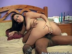 What are you waiting for? Watch a brunette lady, with big tits wearing fishnet stockings, while she has interracial sex and moans loudly.