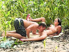 Country girl Mia is with her boy in the corn field! The pretty redneck chick is looking damn fine and her guy, just can't help himself not to have a taste of that pussy between her legs! He eats her cunt nice and slow and then, she goes on her knees to suck his dick, for some cum! Enjoy it!