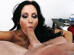 Ava Addams enjoys some cock sucking in oral action with Peter North