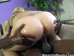 Have a good time watching this blonde babe, with big boobs wearing leather pants, while she goes hardcore with two giant black fellows.