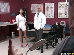 Being a doc can be hard, there's so much work and responsibility but sometimes, it pays off. This guy is stressed out by his job but luckily, he has a gorgeous nurse that knows how to relax him. The superb brunette fools around with the guy, teases him and then kneels to release his stress by giving him head!