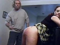 This babe takes piano lessons, but she's too clumsy, fact which makes her teacher go mad. He lifts her skirt and starts whipping her ass until he leaves marks.