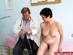 A tricky doctor touches woman's boobs under the pretext of a medical examination. He also touches a hairy pussy. Can you imagine that he gets paid for this?