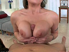 Light haired voluptuous chick with awesome boobies used to suck sugary bonker of her thirsting guy every time he asks. Using her big tits she makes him feel orgasm at once. Look at this filthy busty wench in My XXX Pass sex clip!