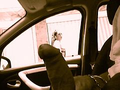 dick flash in car, several girls watching