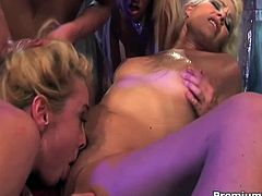 Insane lesbian sluts gangbang tight asshole chick with huge black dildo! Are you going to miss this? Cum inside and enjoy this super hardcore lesbian group sex!