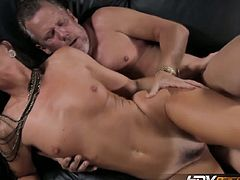 India Summer's spoon style couch fuck. She is is seriously one of the hottest MILFs in the porn game right now. See her strip down, give an amazing blowjob, and fuck on the couch.