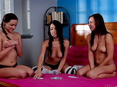 Ever wondered what naughty curious teen girls do when they are alone? Three young ladies meet to play a kinky cards game. The rules are rules and who loses must undress. The punishments are sweet, for example they have to kiss different parts of the other one's body. Hit the ''play'' button to see what's next!
