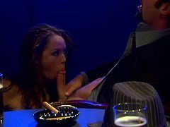 Nasty brunette Kristina Rose wearing lingerie and stockings is playing dirty games with some man in a club. They pet each other and then Kristina leans against a table and gets her cunt pounded from behind.