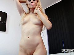 Blonde hottie Michelle Moist is playing with her big toy