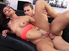 Check out this hardcore scene where the horny redhead Mischa Brooks masturbates with a dildo before being fucked by a big cock.