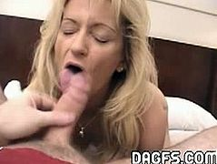 This horny blonde mommy knows how to drive absolutely every man crazy. She gets on her knees and start deepthroating his meaty cok in the point of view style.