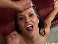 Sexy brunette MILF Katja Kassin is ready to get her asshole stretched wide. She receives this big fat cock super deep and wants this dude to cum in her mouth.