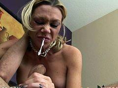 Light haired hooker Samantha Sin is a well known sock sucker and she's the best of the best when it comes to deepthroating. Spit drools out of her mouth while Samantha blows massive dick balls deep.