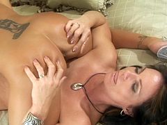 Check out mature with younger babe masturbating one another