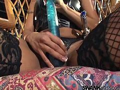 Share this with your friends! Watch an Asian blonde, with a nice ass wearing fishnet stockings, while she goes really hardcore and haves an orgasm.