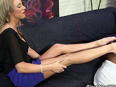 Entertain yourself by watching this blonde MILF, with big nipples wearing a miniskirt, while she has an interracial moment with this guys's pole!