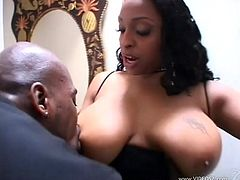 Big-assed black hussy Carmen Hayes wearing fishnet stockings gives a hot blowjob to some guy. Then they fuck in cowgirl position and doggy style and enjoy it much.