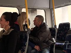 These two are so fucking shameless! Blonde babe Lindsey and this guy are in the back of a bus when suddenly, things get hot between them. Without any hesitation the blonde goes on her knees and sucks the guy. Everyone minds their own business as Lindsey sucks cock and then takes it from behind like a whore.