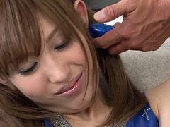 Young and pretty asian chick Meri Kanami with two cute ponytails gets fucked with sex toy and gets her clit stimulated making her cum.