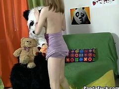 Hot and sassy chick makes a photoshoot with her plush panda bear toy and ends up having sex with him and getting cum all over her face.