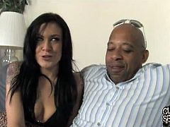 Chip is a really obedient cuckold. He watches closely as Vanessa Naughty gets fucked by Shane Diesel. Shane cums on her crotch and she feeds the cum to Chip.