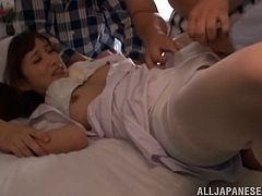 Salacious Japanese chick Chika Kitano is having fun with a few men indoors. The guys touch all Chika's privates adn then drill her pussy by turns.