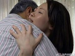 A hot Japanese housewife gets her hairy pussy stuffed with a hard fuckin' dick, hit play and check it out right here! It's hot!
