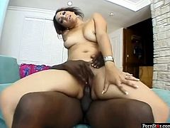 Desirable ebony beauty with outstanding booty takes pretty big black dick up her tight cunt on her side from behind. She sucks that BBC and rides it in reverse cowgirl pose.