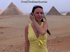 This horny brunette cutie is so happy that her boyfriend finally brought her on holiday in Egypt. She is ready to suck his cock and takes it into her tight snatch.