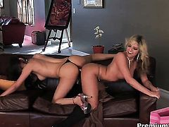 Paola Rey and Marlie Moore enjoy another lesbian sex session for the camera