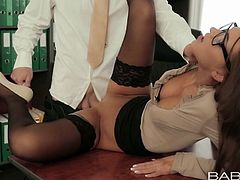She's a babe and those dorky glasses makes her look even hotter! Miss Alexis takes a well deserved break from her work and goes up on the table, to get fucked. Her colleague takes full advantage of the situation and begins to eat her ass. Then she flips on her back and gets her pussy filled with his hard dick.